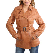 Womens Soft Leather Trench Coat Olivia Tan