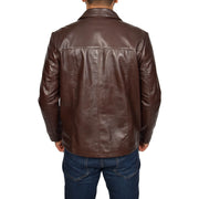 Mens Classic Zip Fasten Box Leather Jacket Tony Brown back