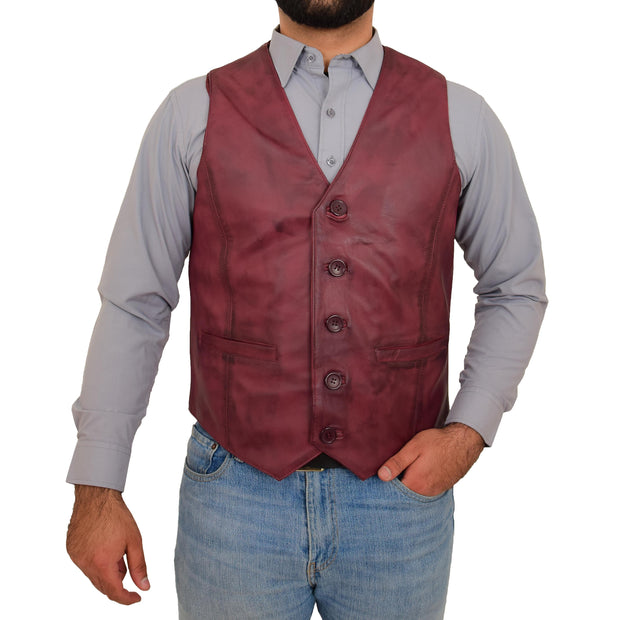 Mens Full Leather Waistcoat Burgundy Gilet Traditional Smart Vest King Front