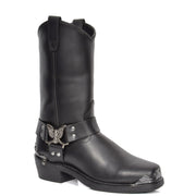 Real Leather Square Toe Eagle Design Biker Boots AEB77H Black