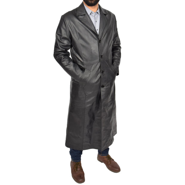 Mens Leather Overcoat Full Length Trench Coat Blade Black