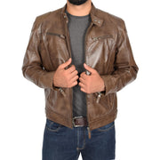 Mens Leather Jacket Biker Style Zip up Coat Bill Brown Open