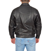 Mens Classic Bomber Soft Leather Jacket Alan Black back view