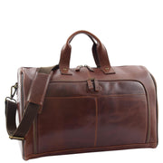 Genuine Leather Holdall Weekend Gym Business Travel Duffle Bag Ohio Brown Front 2