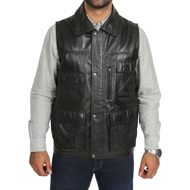 Countrymen Black Leather Waistcoat Multi Pockets Gilet Boyles