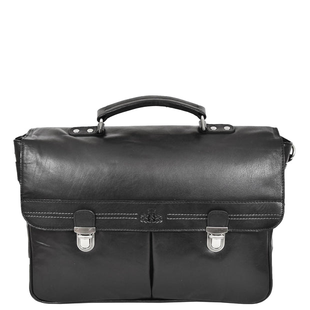 Genuine Leather Briefcase for Mens Business Office Laptop Bag Edgar Black Front