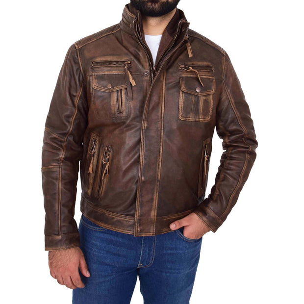 Rust Rub Off Biker Leather Jacket For Men Vintage Rugged Style Coat Mario