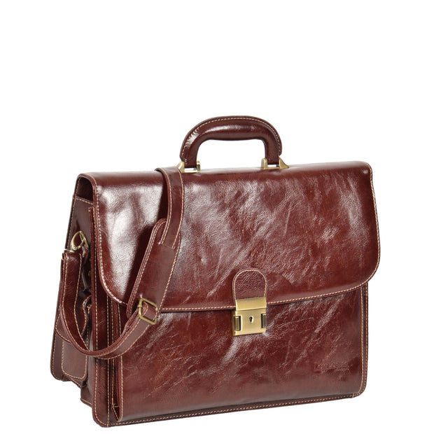 Mens Leather Look Briefcase Office Business Executive Bag A5071 Brown