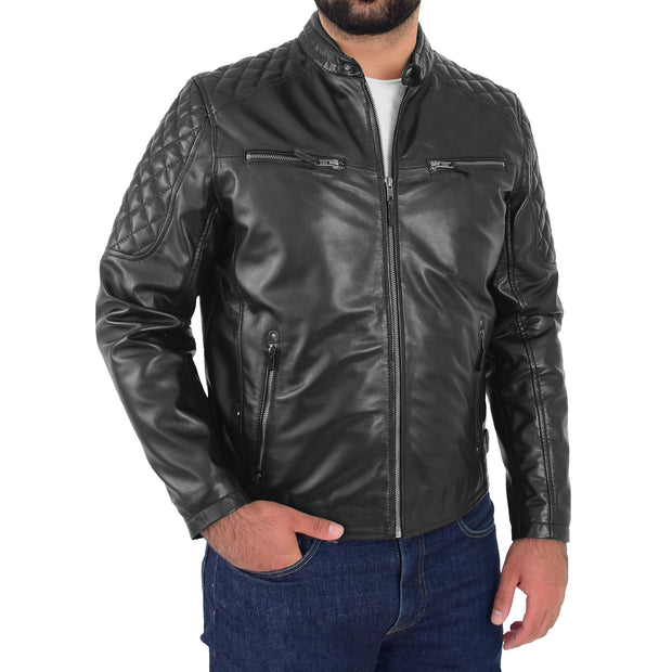 Mens Soft Leather Biker Jacket High Quality Quilted Design Tucker Black Front 1
