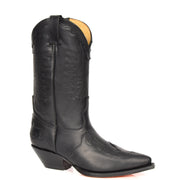 Real Leather Pointed Toe Cowboy Boots AZ350 Black