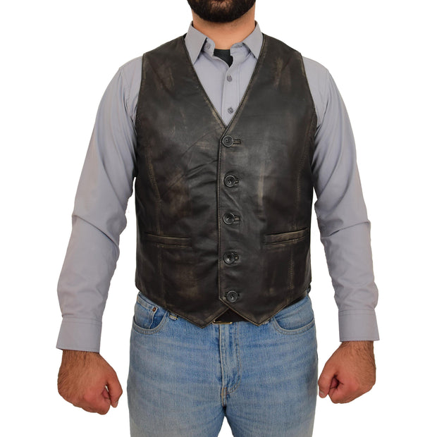 Mens Full Leather Waistcoat Rub Off Gilet Traditional Smart Vest King Front