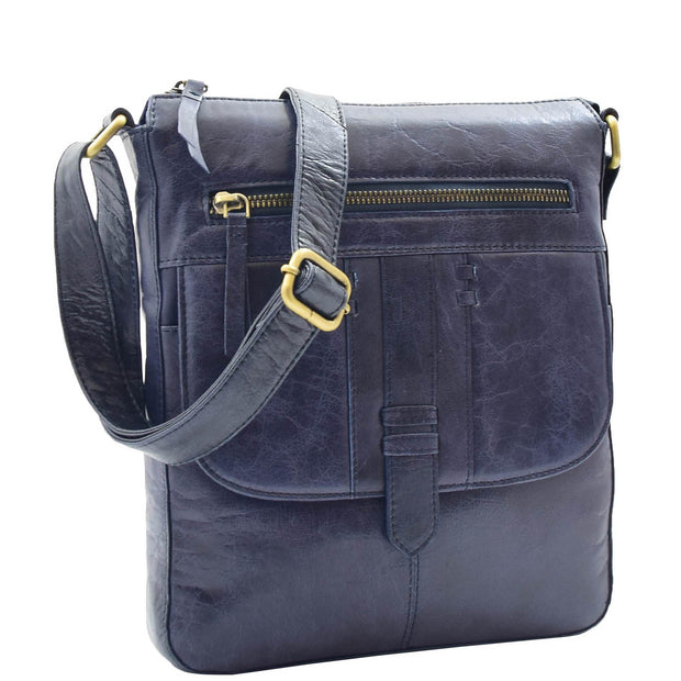Womens Genuine Soft Vintage Leather Crossbody Messenger Bag Jill Navy