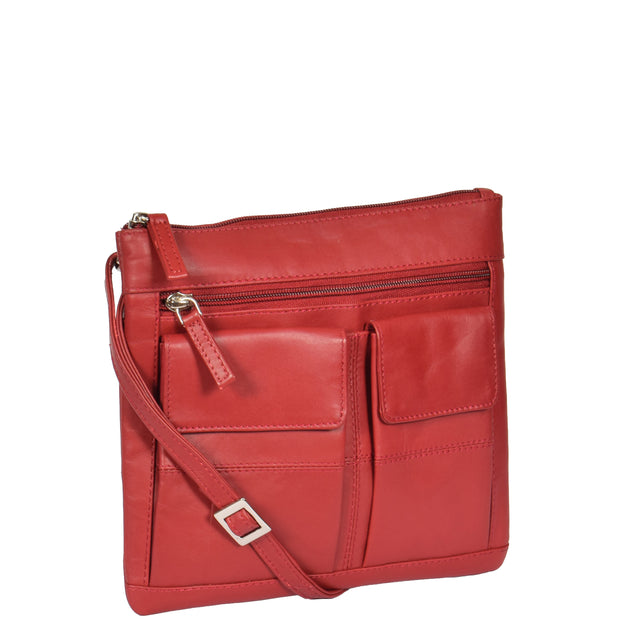 Womens Cross-Body Leather Bag Slim Shoulder Travel Bag A08 Red