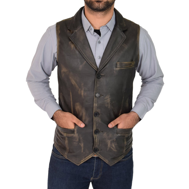 Mens Genuine Soft Leather Waistcoat Western Vest Yelek Rhys Rub Off
