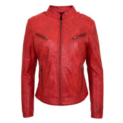 Womens Fitted Leather Biker Jacket Casual Zip Up Coat Jenny Red