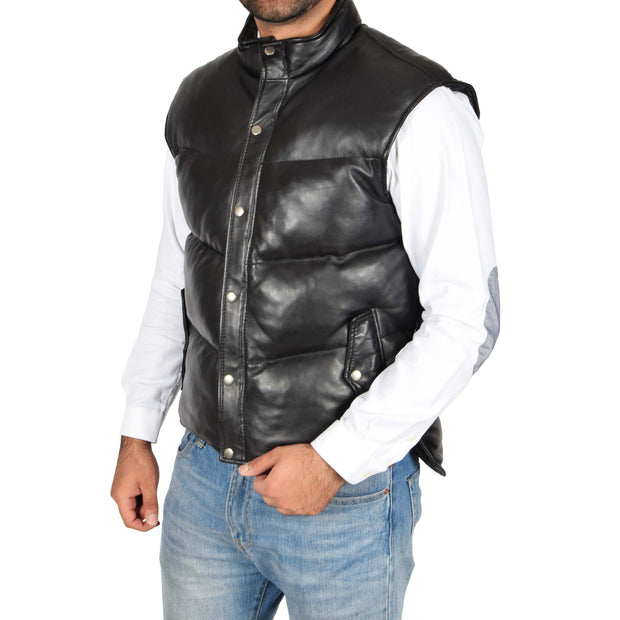 Mens Quilted Leather Waistcoat Body Warmer Gilet Jeff Black