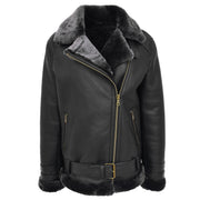 Womens Real Sheepskin Jacket Black X-Zip Aviator Belted Shearling Coat Willow