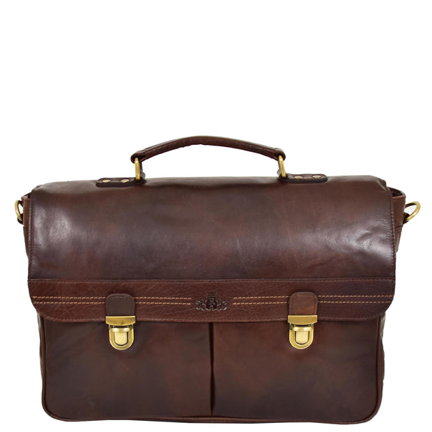 Genuine Leather Briefcase for Mens Business Office Laptop Bag Edgar Brown Front