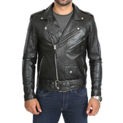 Mens Brando Biker Leather Jacket Elvis Black zip closed