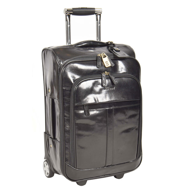Real Leather Suitcase Cabin Trolley Hand Luggage A0518 Black