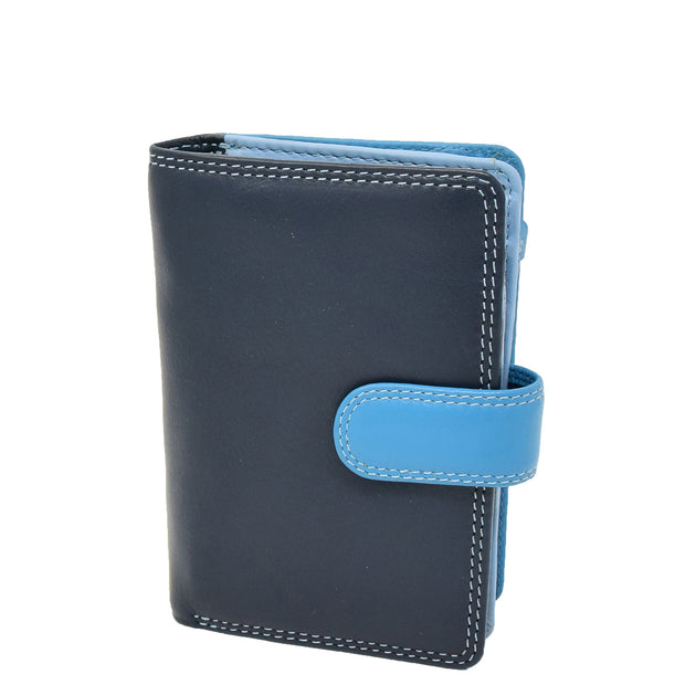 Womens Leather Booklet Evening Clutch Purse Multi Colour Wallet AVB51 Blue