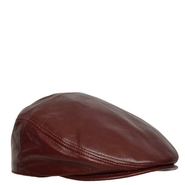 Genuine Burgundy Leather Flat Cap English Granddad Baker-boy Hat Arthur