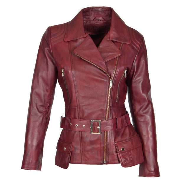 Womens Biker Leather Jacket Slim Fit Cut Hip Length Coat Coco Burgundy