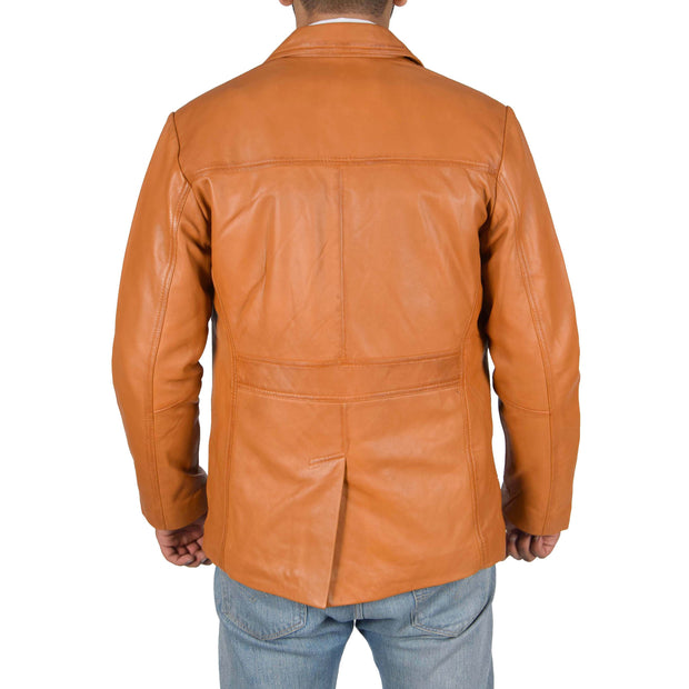 Mens Classic Blazer Buttoned Box Jacket Harris Tan back view