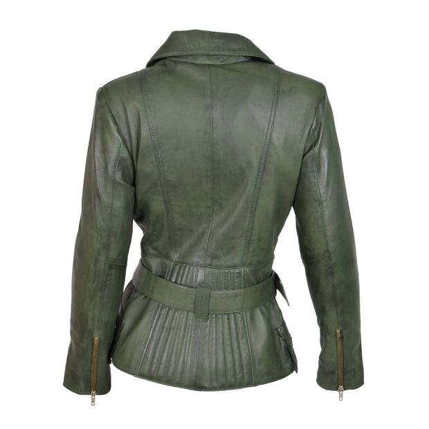 Womens Biker Leather Jacket Slim Fit Cut Hip Length Coat Coco Green Back