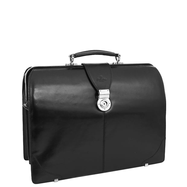 Exclusive Doctors Leather Bag Black Italian Briefcase Gladstone Bag Doc