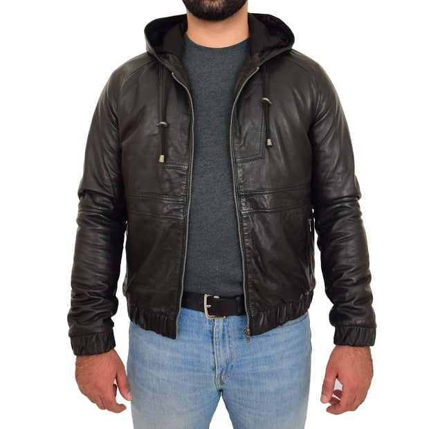 Mens Real Black Leather Bomber Hoodie Jacket Sports Fitted Coat Kent Open
