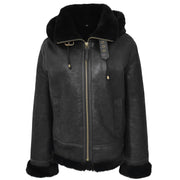 Womens Real Black Sheepskin Jacket Hooded Shearling B3 Pilot Coat Maria