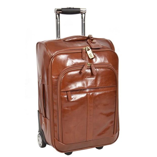 Real Leather Suitcase Cabin Trolley Hand Luggage A0518 Chestnut
