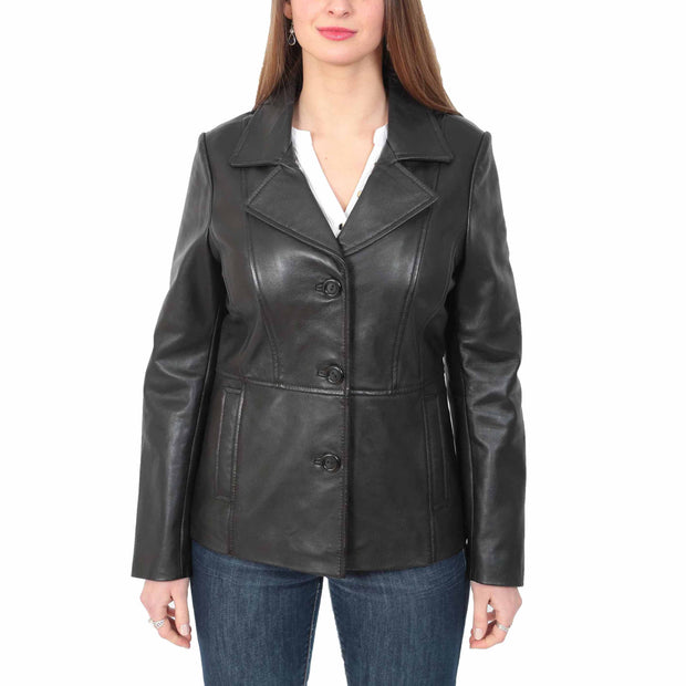 Ladies Leather Blazer Coat Fitted Classic Hip Length Jacket Judy Black
