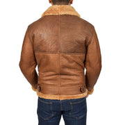 Authentic Aviator Coat Real Sheepskin Vintage Tan Bomber Jacket Tornado Back