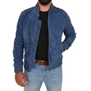 Mens Soft Goat Suede Bomber Varsity Baseball Jacket Blur Blue Open 1