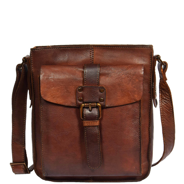 Real Leather Unisex Shoulder Flight Bag Trump Rust Front