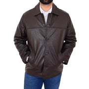 Gents Real Leather Button Box Jacket Classic Regular Fit Coat Luis Brown Front 1