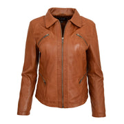 Ladies Soft Leather Jacket Fitted Collared Zip Fasten Biker Style Leah Tan