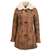 Womens Real Sheepskin Duffle Coat Hooded Shearling Jacket Armas Cognac Front 1