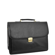 Mens pu Leather Briefcase Black Laptop Bag A4 Office Business Satchel Andy