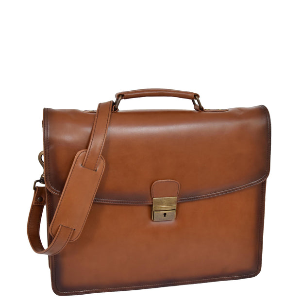 Mens Briefcase Italian Leather Soft Slim Satchel Business Bag Boris Tan
