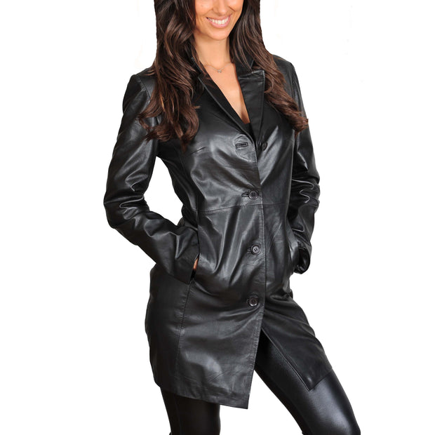 Ladies Real Leather 3/4 Length Fitted Jacket Rachel Black