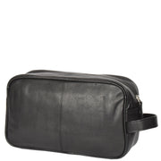 Wash Leather Bag Travel Toiletry Shaving Kit Wrist Bag A98 Black