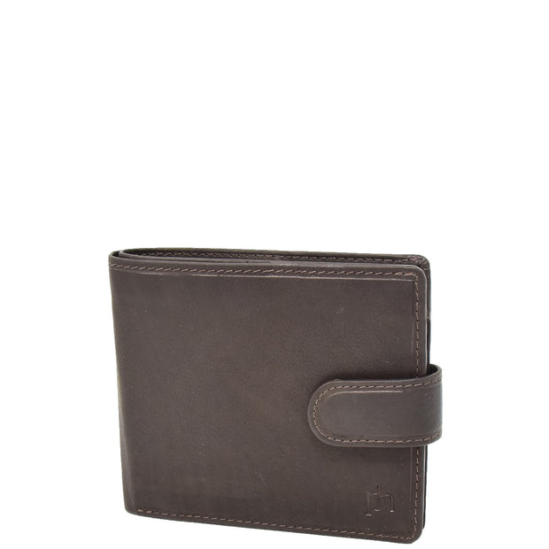 Mens Top Quality Soft Leather Snap Closure Bifold Slim Wallet AL05 Brown Front