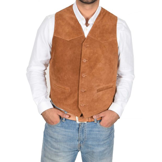 Mens Real Suede Leather Waistcoat Classic Vest Gilet Cole Tan