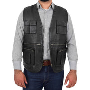 Mens Real Black Soft Leather Fisherman Waistcoat Multi Pockets Gilet Curt Open 1