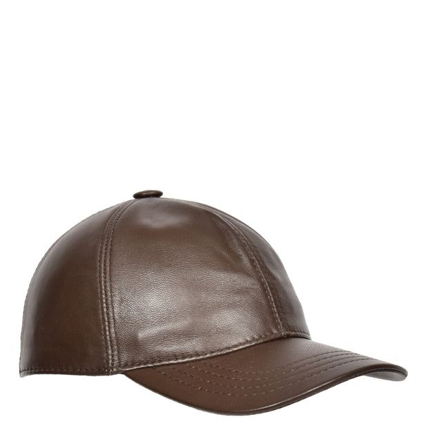 Genuine Leather Baseball Cap Sports Casual Viper Brown