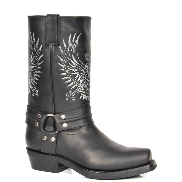 Real Leather Square Toe Cowboy Biker Boots AE33 Black