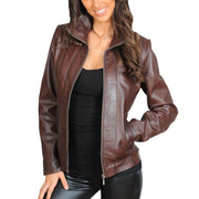 Womens Classic Fitted Biker Real Leather Jacket Nicole Brown